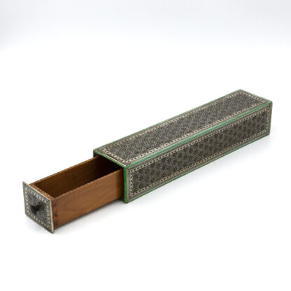 Anglo Indian Micro-mosaic Inlay Match Holder With Sandalwood Interior; India, Circa 1890.