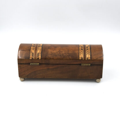 Rare Pair Of Dome Top Tunbridge Ware Boxes In Walnut With Intricate Inlays, Circa 1850-1860.