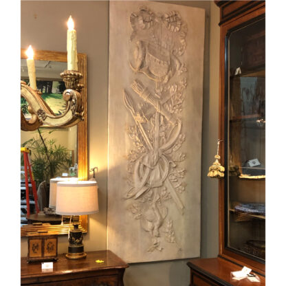 Pair of Monumental Louis XVI Gray Painted, Carved Boiserie Panels, French circa 1780.
