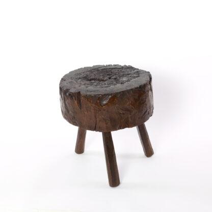Small Round Dark Oak Chopping Block, English Circa 1860