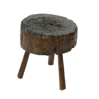 Small Round Dark Oak Chopping Block, English Circa 1860