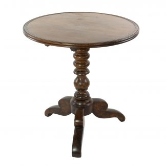 Circular French Fruitwood Tilt-Top Table With Turned Pedestal And Tripod Base, Circa 1860.