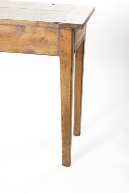 Chamfered legs of 19th Century Long and Narrow French Fruitwood Server With A Single Drawer, Circa 1850.