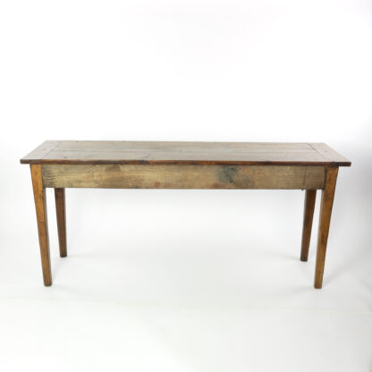Back side of a 19th Century Long and Narrow French Fruitwood Server With A Single Drawer, Circa 1850.