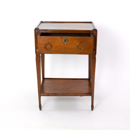 Small scale Walnut Antique Side Table With A Single Large Drawer And Shelf, Italian Circa 1780
