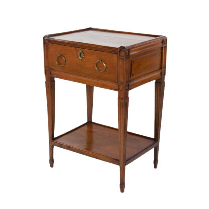 Vintage Italian Walnut Side Table With A Single Large Drawer And Shelf, Italian Circa 1780