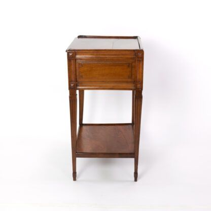 side view / panels of Small scale Walnut Side Table With A Single Large Drawer And Shelf, Italian Circa 1780