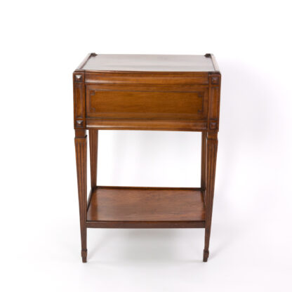 Back View of a vintage Walnut Side Table With A Single Large Drawer And Shelf, Italian Circa 1780