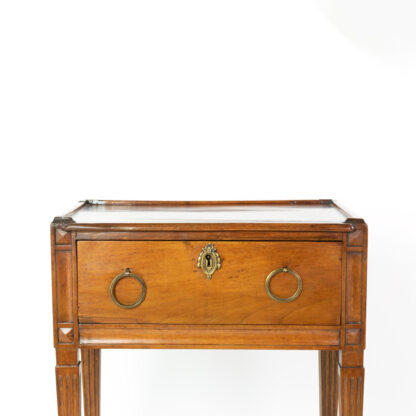 Single drawer of a Small scale Walnut Side Table With A Single Large Drawer And Shelf, Italian Circa 1780