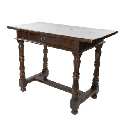 French Baroque Walnut Single Drawer Writing Table With H-Stretcher, French Circa 1780.