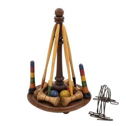 Miniature Tabletop Croquet Set, English circa 1900.