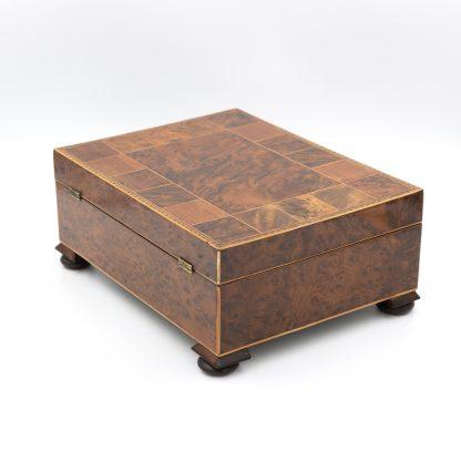 Good Quality Specimen Wood Box Of Various English Hardwoods, English Circa 1820.