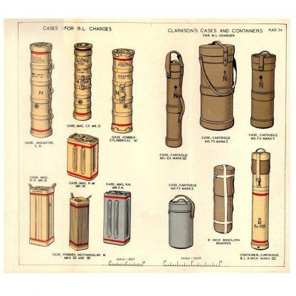 Clarkson's Case, Cordite Buckets, BR932, Handbook on Ammunition - UK - 1945