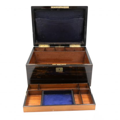 Opened interior of A Solid Coromandel Dressing Box Of Timeless Elegance, English 1830-1850.