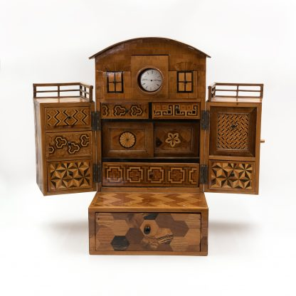 interior of Japanese House box, Specimen Wood Men's Dressing Box, Japan circa 1900.