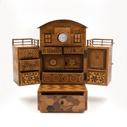 opened Japanese House box, Specimen Wood Men's Dressing Box, Japan circa 1900.