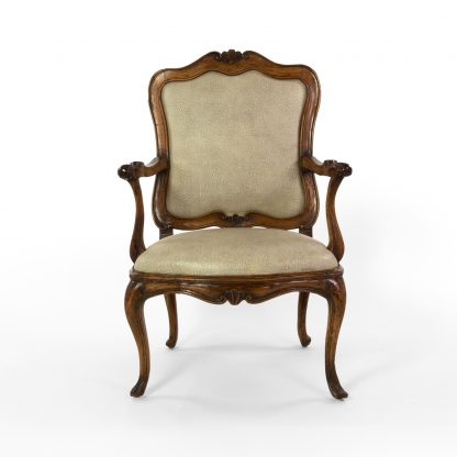 Handsome Louis XV Carved Walnut Fauteuil, Circa 1750, Upholstered In Faux Shagreen And Linen.