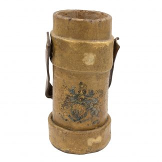 Ochre Painted Linen and Cork British Naval Cordite Bucket With Painted Crest and Leather Strap, English circa 1880