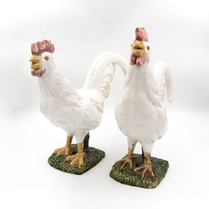 Whimsical Pair Of French White Porcelain Roosters, French Circa 1880