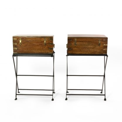 Pair Of Teak And Brass Campaign Boxes, Anglo Indian Circa 1880, On Later Iron Folding Stands.