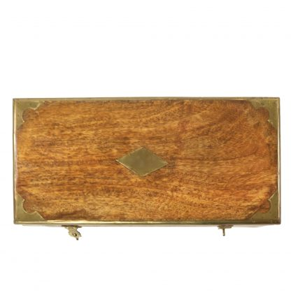 Top of a Teak And Brass Campaign Boxes, Anglo Indian Circa 1880 Garden Court Antiques