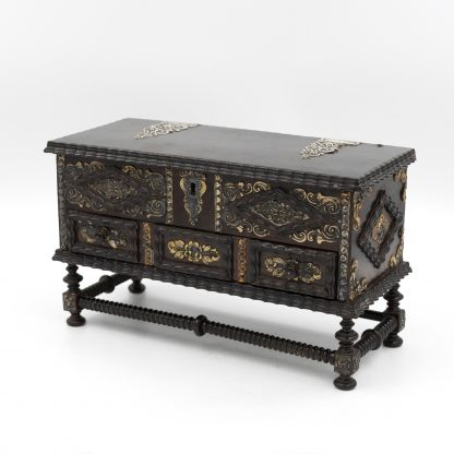 Portuguese Solid Rosewood Box With Drawer In The Form Of A Gothic Sideboard, Circa 1810.