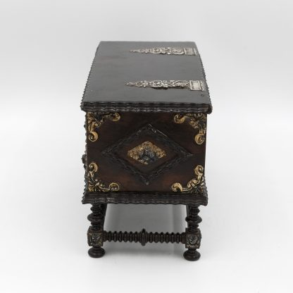 Side view of aPortuguese Solid Rosewood Box With Drawer In The Form Of A Gothic Sideboard, Circa 1810.