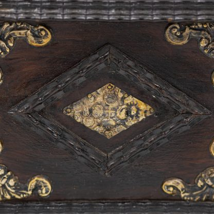 diamond moulding detail of Portuguese Solid Rosewood Box With Drawer In The Form Of A Gothic Sideboard, Circa 1810.
