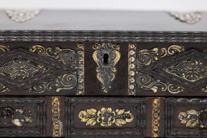 Escutcheon front of Portuguese Solid Rosewood Box With Drawer In The Form Of A Gothic Sideboard, Circa 1810.