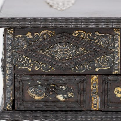 Detail Portuguese Solid Rosewood Box With Drawer In The Form Of A Gothic Sideboard, Circa 1810.
