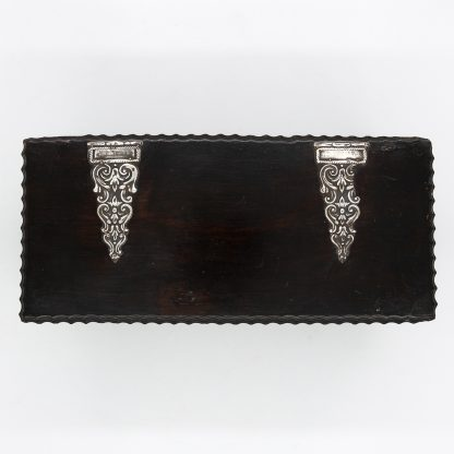 Silver hinged top of a Portuguese Solid Rosewood Box With Drawer In The Form Of A Gothic Sideboard, Circa 1810.