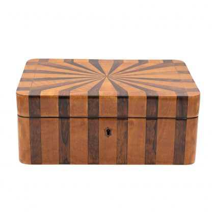 Satinwood And Coromandel Box With Radiating Starburst Pattern, Circa 1850.