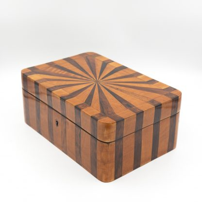 Satinwood And Coromandel Box With Radiating Starburst Pattern, Circa 1850.