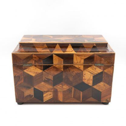 Back side of an Extraordinary Specimen Wood Tea Caddy With Both Tumbling Block And Vandyke Marquetry, English Circa 1810.