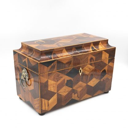 Extraordinary Specimen Wood Tea Caddy With Both Tumbling Block And Vandyke Marquetry, English Circa 1810.