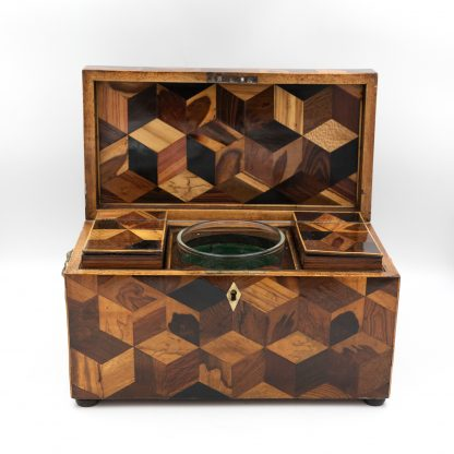Opened Extraordinary Specimen Wood Tea Caddy With Both Tumbling Block And Vandyke Marquetry, English Circa 1810.