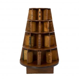 Four Tiered Edwardian Mahogany And Leather Revolving Bookcase With Faux Book Dividers, English Circa 1900.