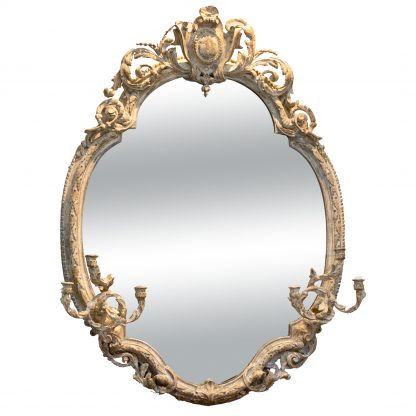 Very Large Painted Oval Girandole Mirror, French Circa 1880