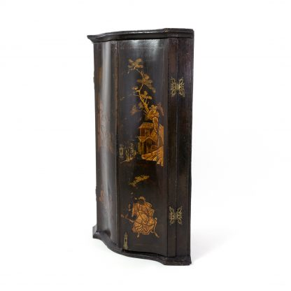 Antique Black And Gold Chinoiserie Corner Cupboard With Painted Interior, English Circa 1820.