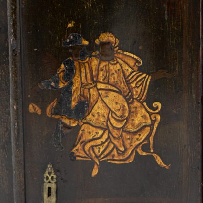 Detail of Antique Black And Gold Chinoiserie Corner Cupboard With Painted Interior, English Circa 1820.