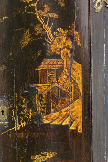Scenic detail of Antique Black And Gold Chinoiserie Corner Cupboard With Painted Interior, English Circa 1820.