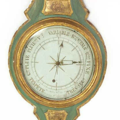Mid-19th Century Green And Gilt, Carved Thermometer Over Barometer, Circa 1850