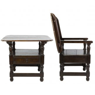 A Rare Welsh 18th Century Joined Oak Convertible Monks Chair / Table with A Single Drawer.