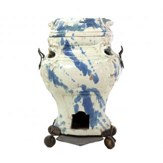 A Continental Faience Portable Stove And Cover, Late 18th/19th Century