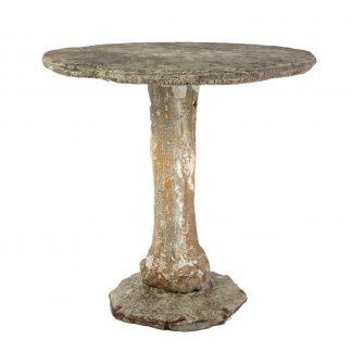 A Vintage French Faux Bois Outdoor Garden Or Patio Pedestal Table, Circa 1860.